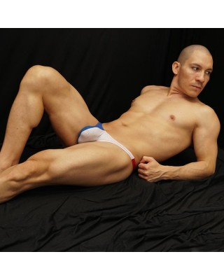 mesh tricolor patriot thong white blue and red color
