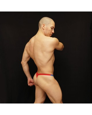 mesh tricolor patriot thong white blue and red color back standup view