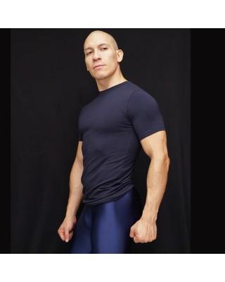 polera manga corta algodon con elastano azul marino vista frontal