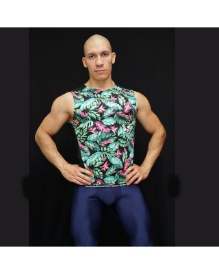 Sleeveless Compression green Leaves bicolor front view