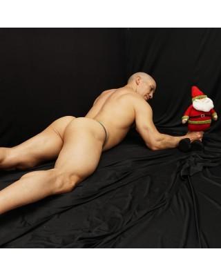 Sexy mesh bulge thong christmas colors back view