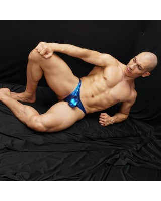 bulge ball thong blue latex front view