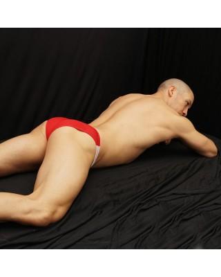 bikini malla tricolor vista de espalda