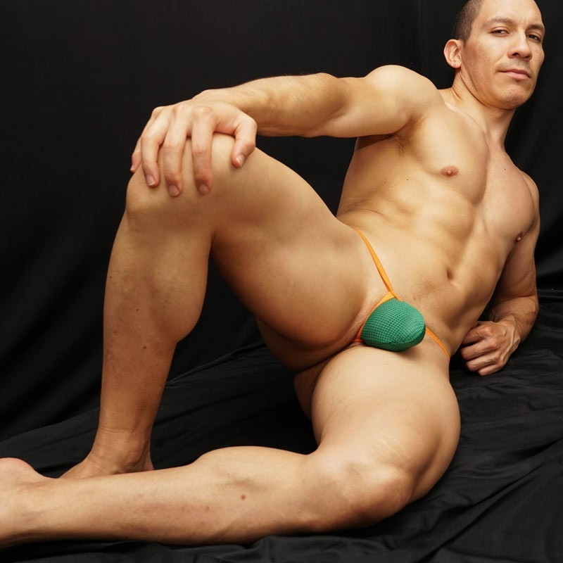 Mens g-string green mesh microfiber orange ribbon front view