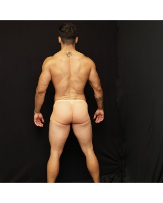 see thru tul transparency orange color back view