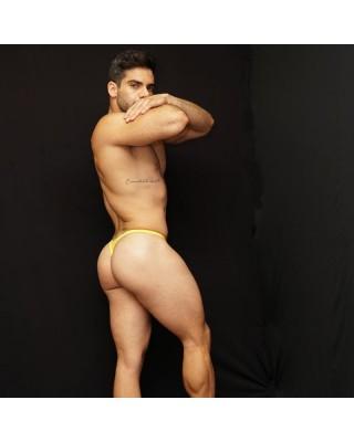 venta en linea de tangas lenceria hombre amarillo vista de perfil