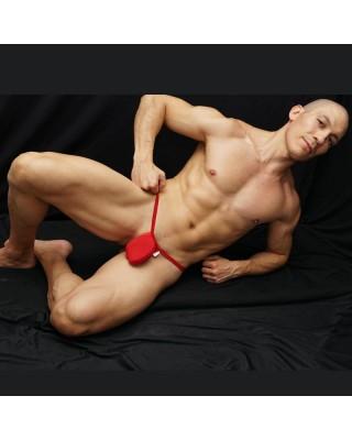 tanga hombre bulge hilo dental Rojo vista acostado de frente