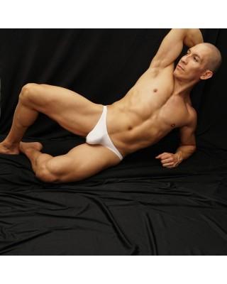 sensual men lingerie bikini made in white microfiber front view