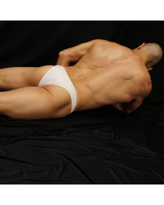 sensual men lingerie bikini made in white microfiber back view