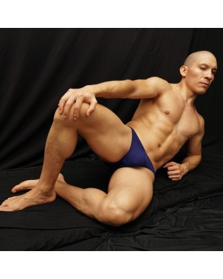 traditional men bikini strong blue color, front view