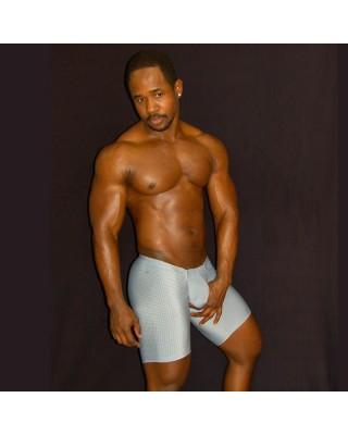 calza corta microfibra bulge hombre, marcadora de culo y paquete color gris perla vista de frente