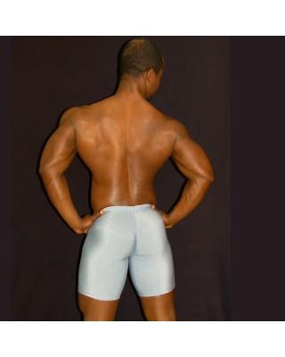 men bulge short tights grey color. Enhancing butt and bulge, back view.