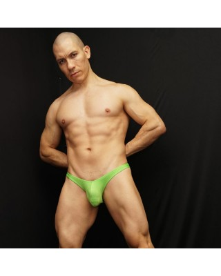 Nice bikini for men light green fluor color. Front view