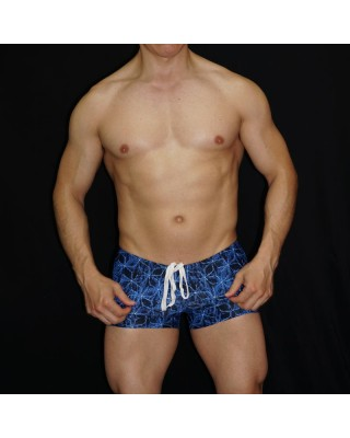 blue black print square cut boxer for men