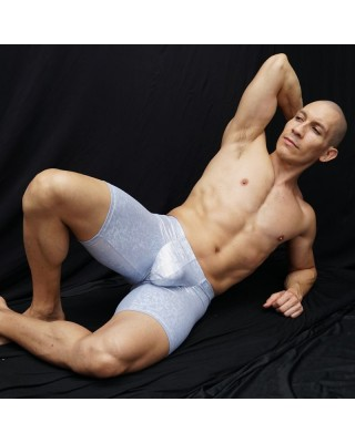 Men bulge short tights, shiny light blue color, front view.
