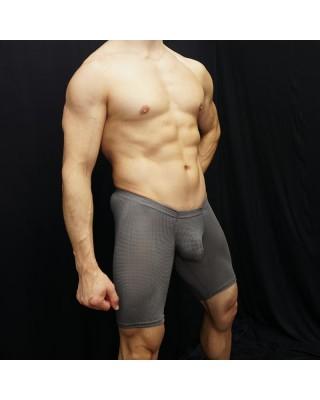 bulge short malla gris hombre, vista de pie de perfil