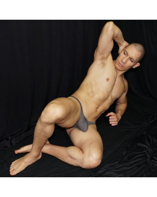 Men's bulge thong made of fresh mesh microfiber, grey. front view