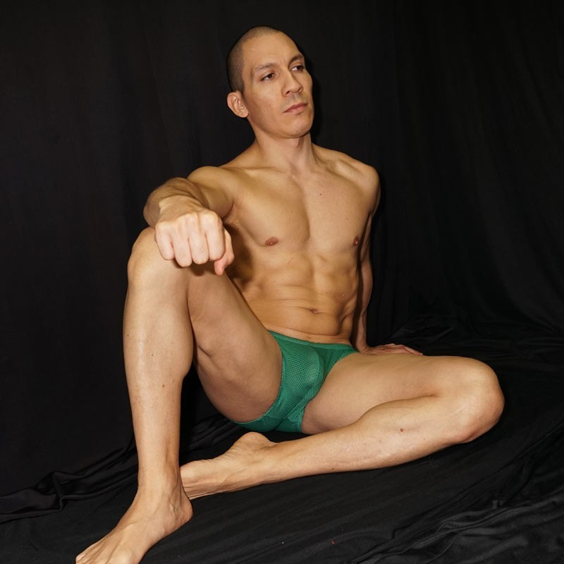 men bikini mesh with a huge bulge with strong erotic masculinity features.