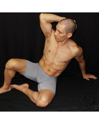 men bulge short tights grey color. Enhancing butt and bulge, front view