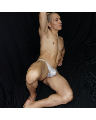 Shiny white 3D effect thong, front view