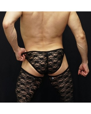 Hot lace at men service. Enhancing bulge and butt. Back view.