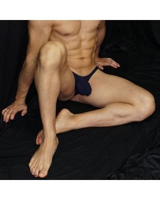 men bulge thong navy. front view