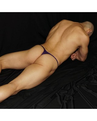 Thong for men,  with thin shiny dots over microfiber material. back view