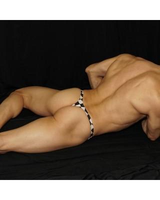 Tanga tablero de ajedrez, vista acostado de espalda