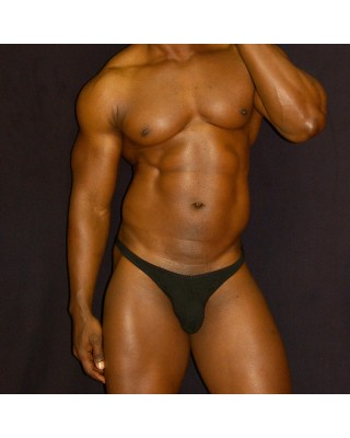 soft Cotton spandex lycra thong for men. front view.