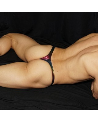A nice Jamaica color thong. laid back view.