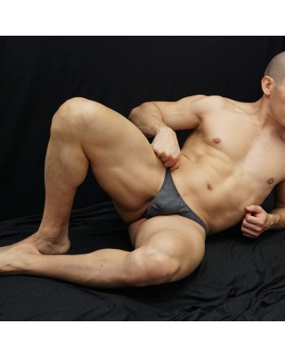 Grey thong for men, front laid view