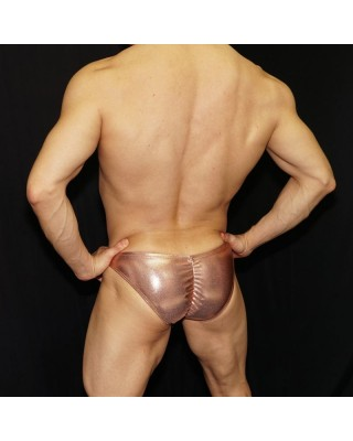 Shiny copper butt hugger enhancer bikini, back view