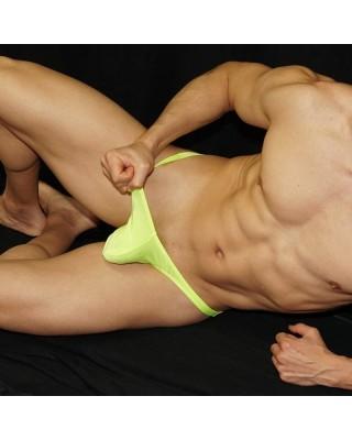 Strong green fluor thong for men.
