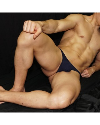 men bulge thong navy, front view