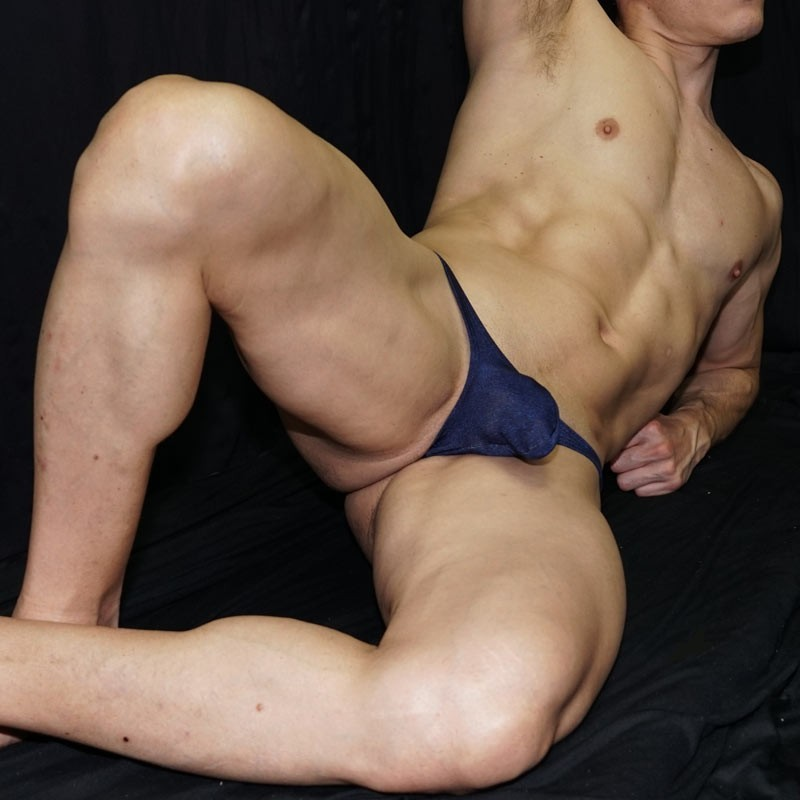 bulge thong for mens made in soft microfiber navy bicolor, front view