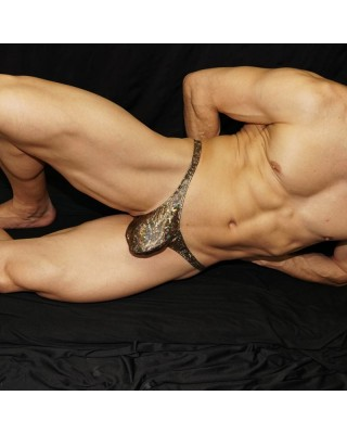 Bronze thong microfiber for men only. front view