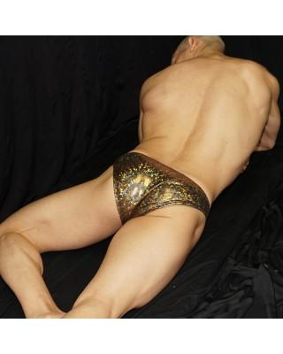 bronze bikini for men. Made in textured metal  microfiber, back view