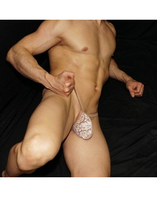 ribbon lace beige thong for men, front view.