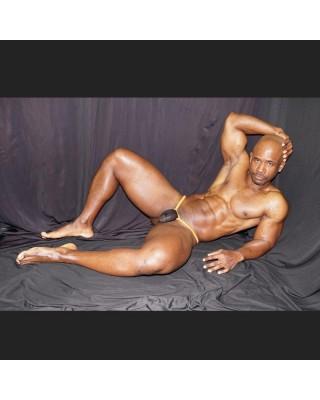 men thong extra black mesh with orange elastic