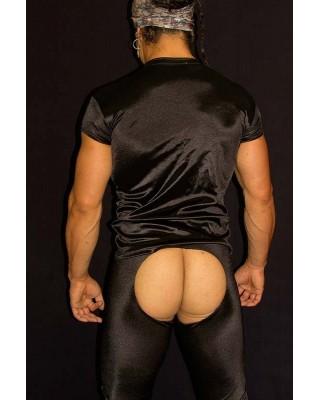 men Short Sleeve T-shirt black satin