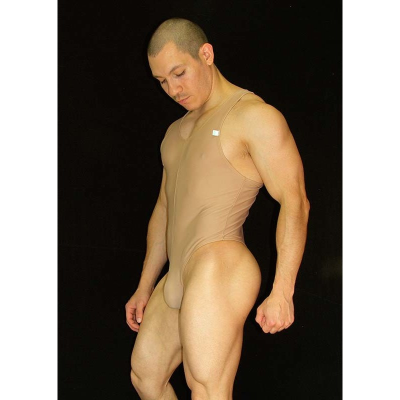 body string is like thong and muscle t-shirt  nude