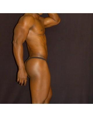 Bulge thong pouch nylon black seethru transparent lingerie for men