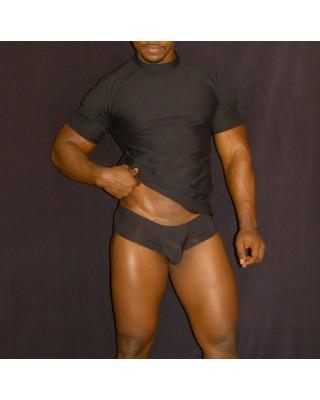 Polera hombre manga corta supplex negro