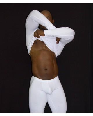 camiseta manga larga hombre spandex blanca
