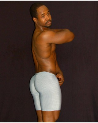 men bulge short tights grey color. Enhancing butt and bulge, front view.