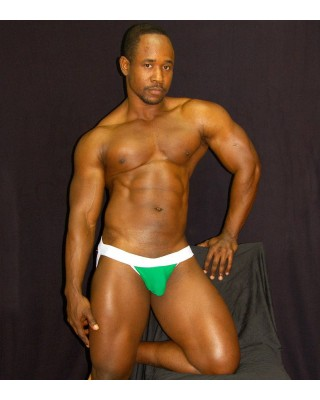 mens green white microfiber jockstrap