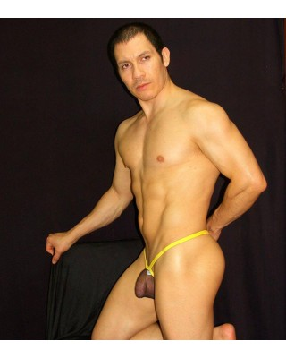 men stocking black thong