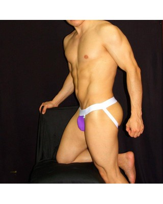 mens purple white microfiber jockstrap