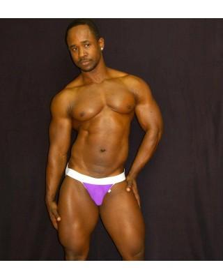 mens purple white microfiber jockstrap
