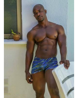boxer baño hombre retro estampado azul